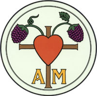 "A pair of grape bunches growing out of the top of a brown cross with a large red hear superimposed on them and the letters ""A M"" in yellow on either side"