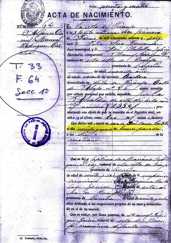 Archivo:Acta de nacimiento Alfonso Daniel Manuel Rodríguez Castelao ...