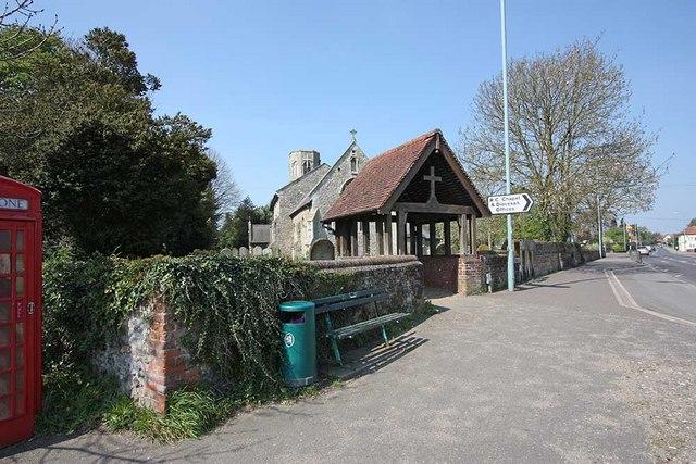 File:All Saints, Poringland, Norfolk - Lych gate - geograph.org.uk - 1278646.jpg