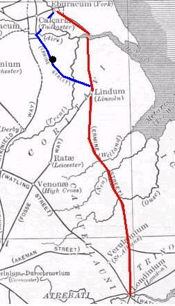 Ermine Street's alternative route: Eboracum (York) to Lagecium (Castleford), 21 miles, to Danum (Doncaster), 16 miles, to Agelocum (Littleborough), 21 miles, to Lindum (Lincoln), 13 miles. A separate spur connected Danum with Calcaria (near Tadcaster). Alternative Ermine Street.JPG