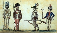 Four American soldiers painted by a Frenchman at Yorktown in 1781