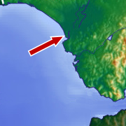 Location of city of Sanlúcar de Barrameda, the starting point for Columbus' third journey.