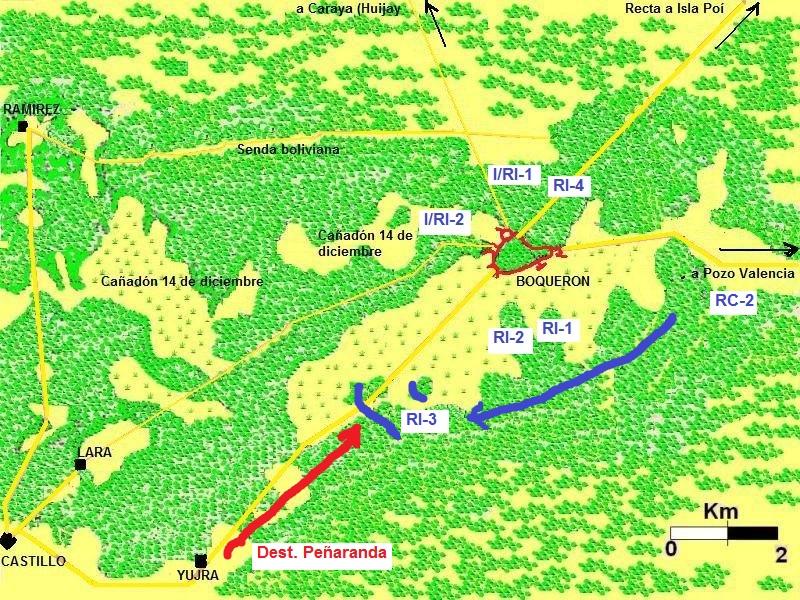 Bloqueo de Peñaranda. Rojo: fuerzas bolivianas. Azul: fuerzas paraguayas.
