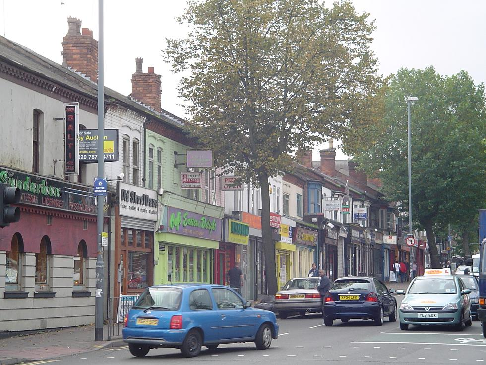 A38 Bristol Road running through Bournbrook, Birmingham, before completion of the Selly Oak Bypass