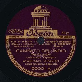 Lado A del acetato en 78RPM. Discográfica Odeón-El Mangruyo 00001 (1936).