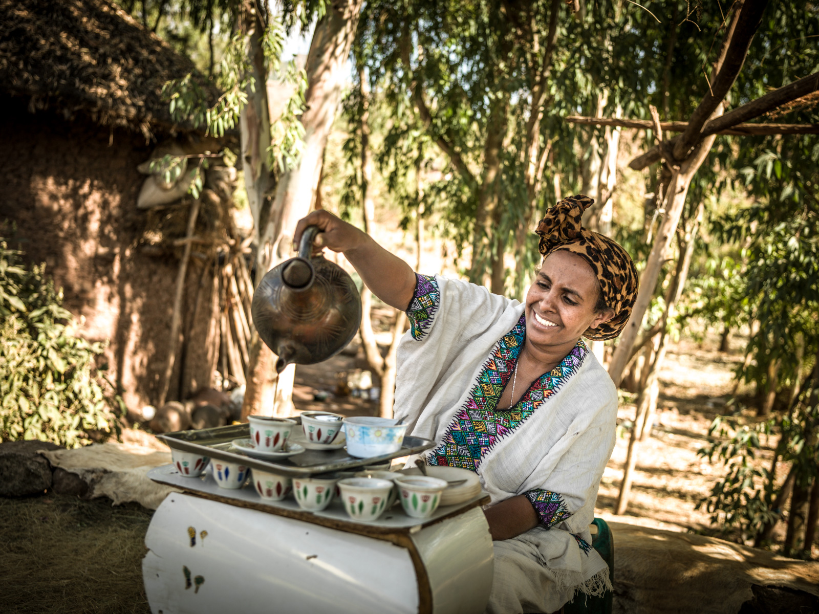 Woman shown performing coffee ceremony in Ethiopia