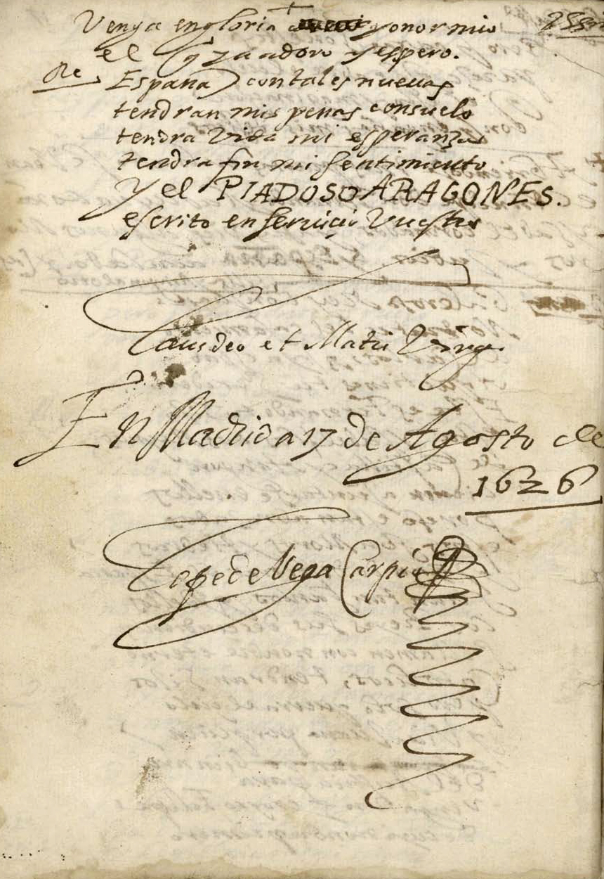 Colofón de El piadoso aragonés, manuscrito autógrafo, fechado y firmado por Lope de Vega en Madrid a 17 de agosto de 1626.