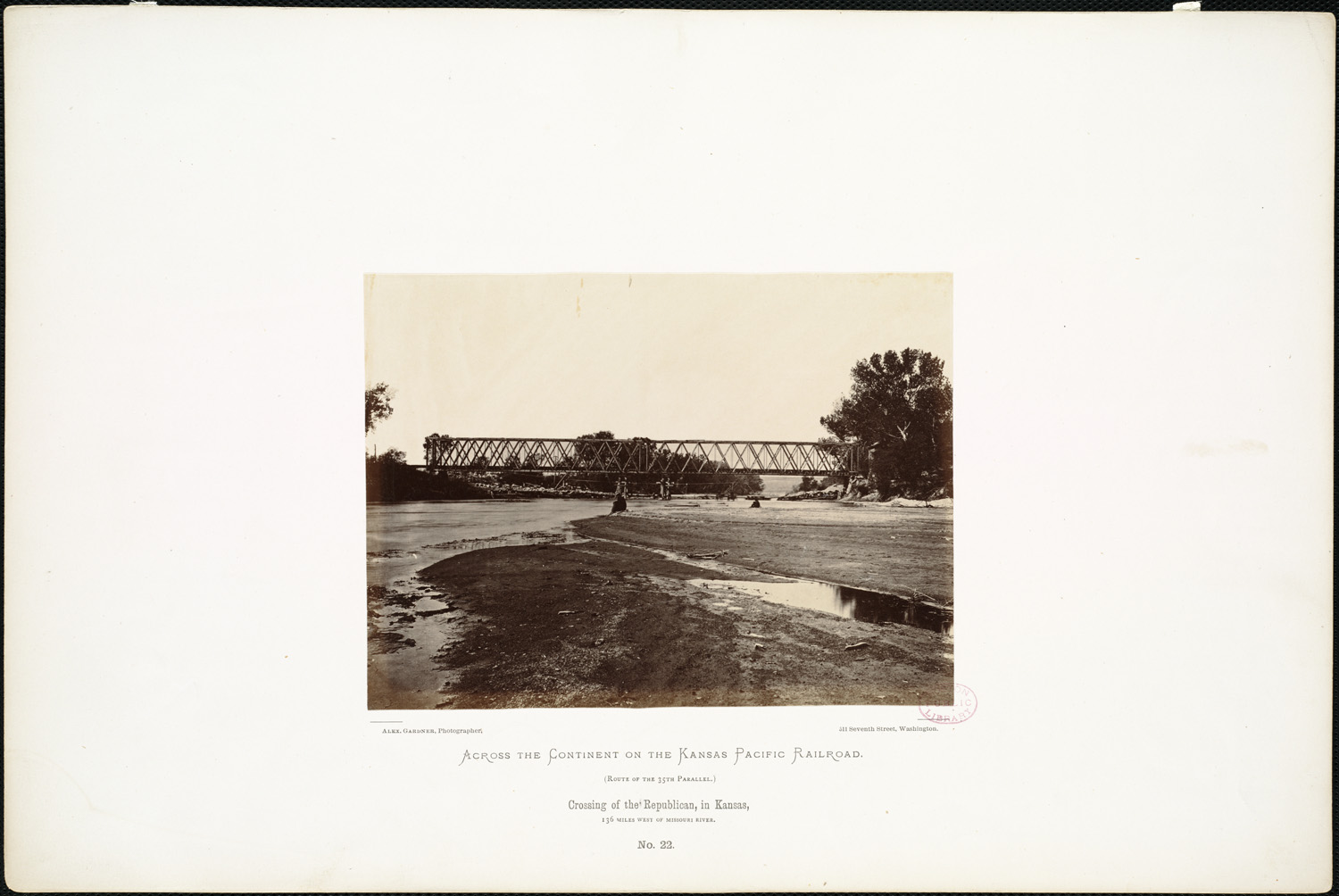 The Kansas Pacific Railway bridge across the Republican River and behind that, a pontoon bridge. [ Alexander Gardner (photographer), 1867][14] The present Union Pacific Railroad and Custer Road/Grant Road (previously U.S. Route 40) still bridge the Republican River at the same locations. Public access to the Kansas River National Water Trail is between the two bridges.