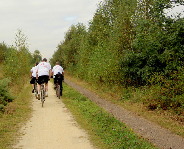 Cycling for charity on the Trans Pennine Trail - geograph.org.uk - 563212
