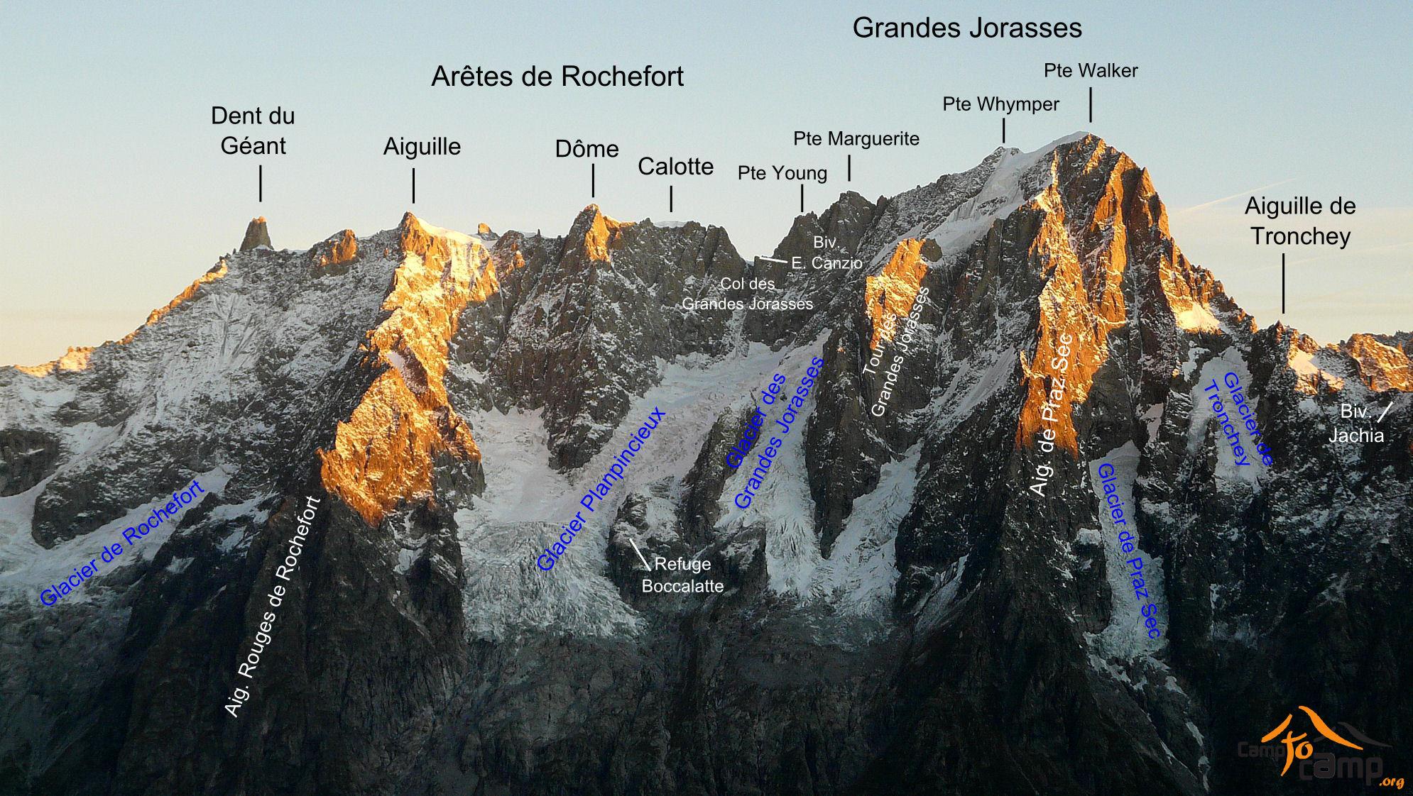 Skildring Dent du Géant - Grandes Jorasses - South face with labels ...