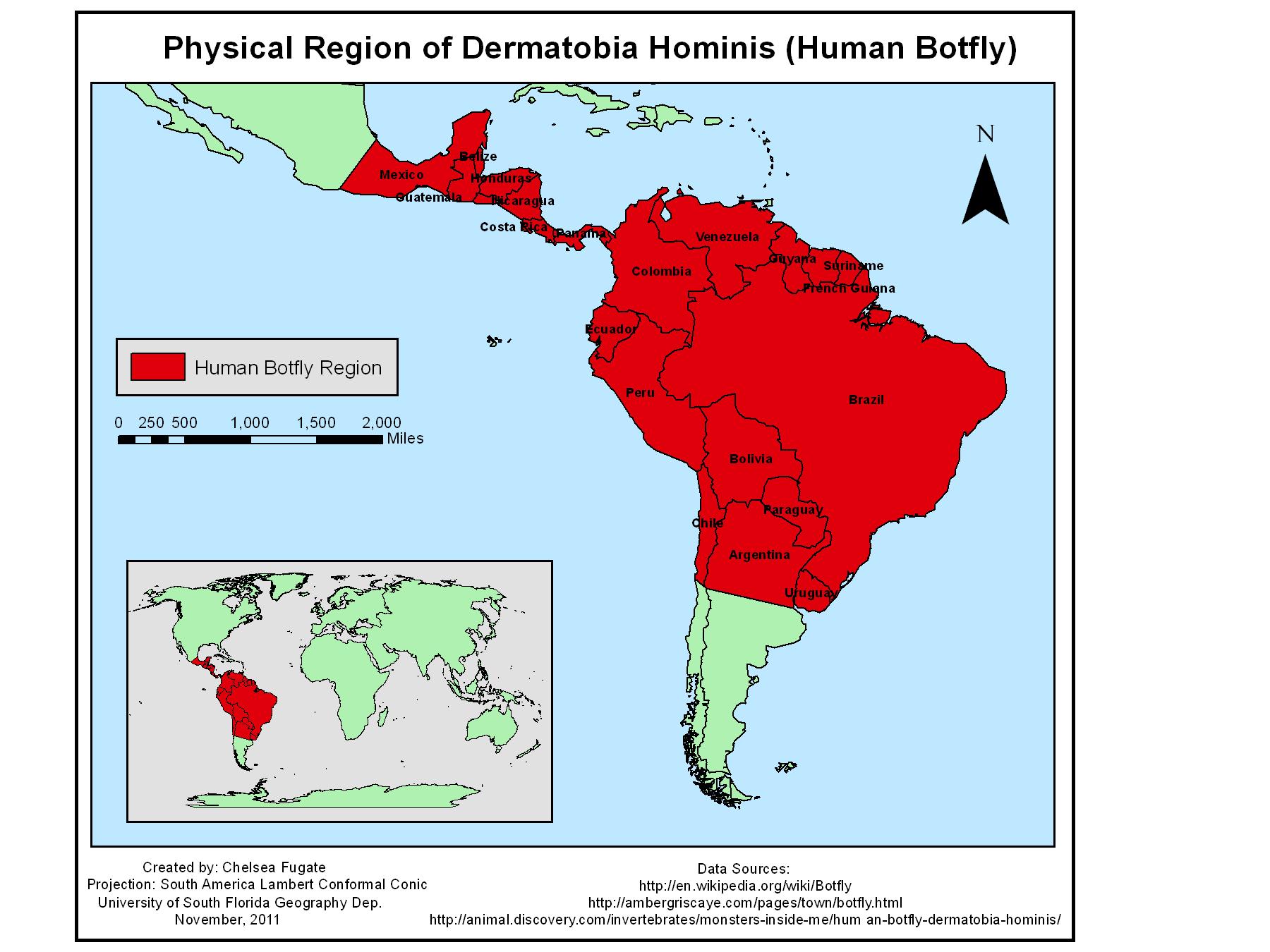 Human Bot Fly Range Map