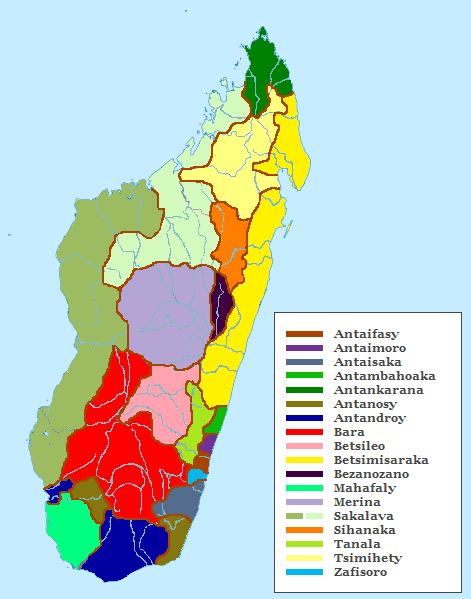 The regional distribution of Malagasy ethnic subgroups Ethnic groups of Madagascar Map.png