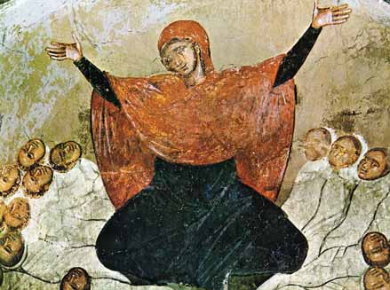Rachel is weeping for her children, 14th-century fresco from Marko's Monastery. Freso - Rachel is weeping for her children.jpg