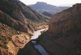 The Gila River is generally considered the northern boundary of southern Arizona Gila River behind Coolidge Dam1.jpg