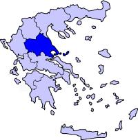 Map showing Thessaly periphery in Greece