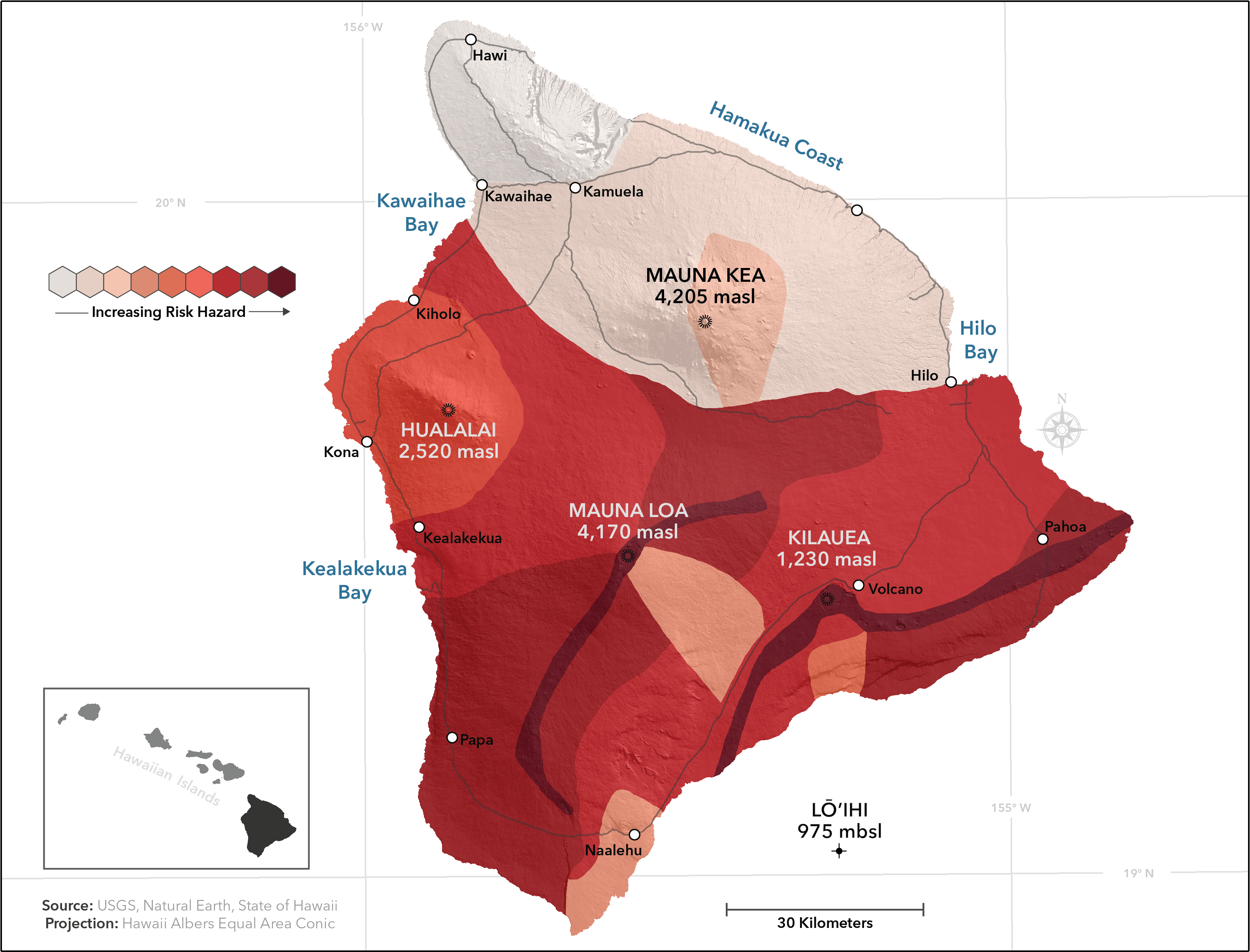 Big Island Lava Flow Map Lava flow hazard zones   Wikipedia