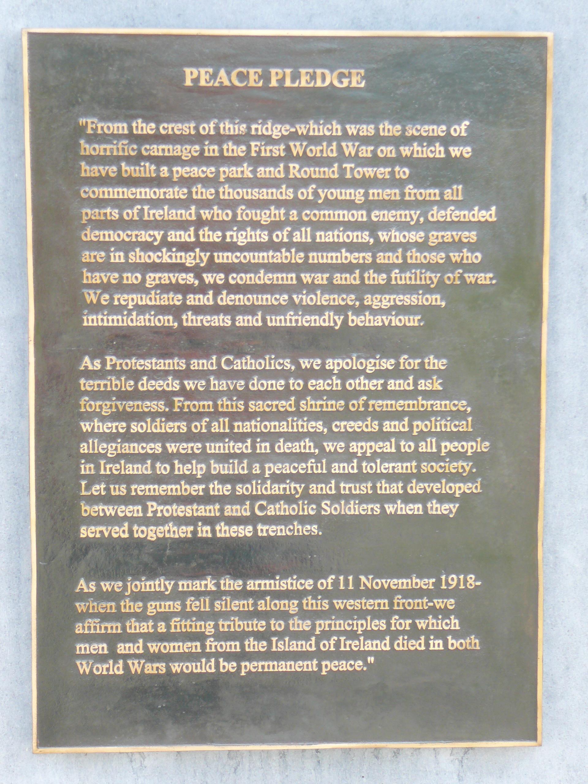file irish  u0026 39 peace pledge u0026 39  plaque  messines  belgium jpg