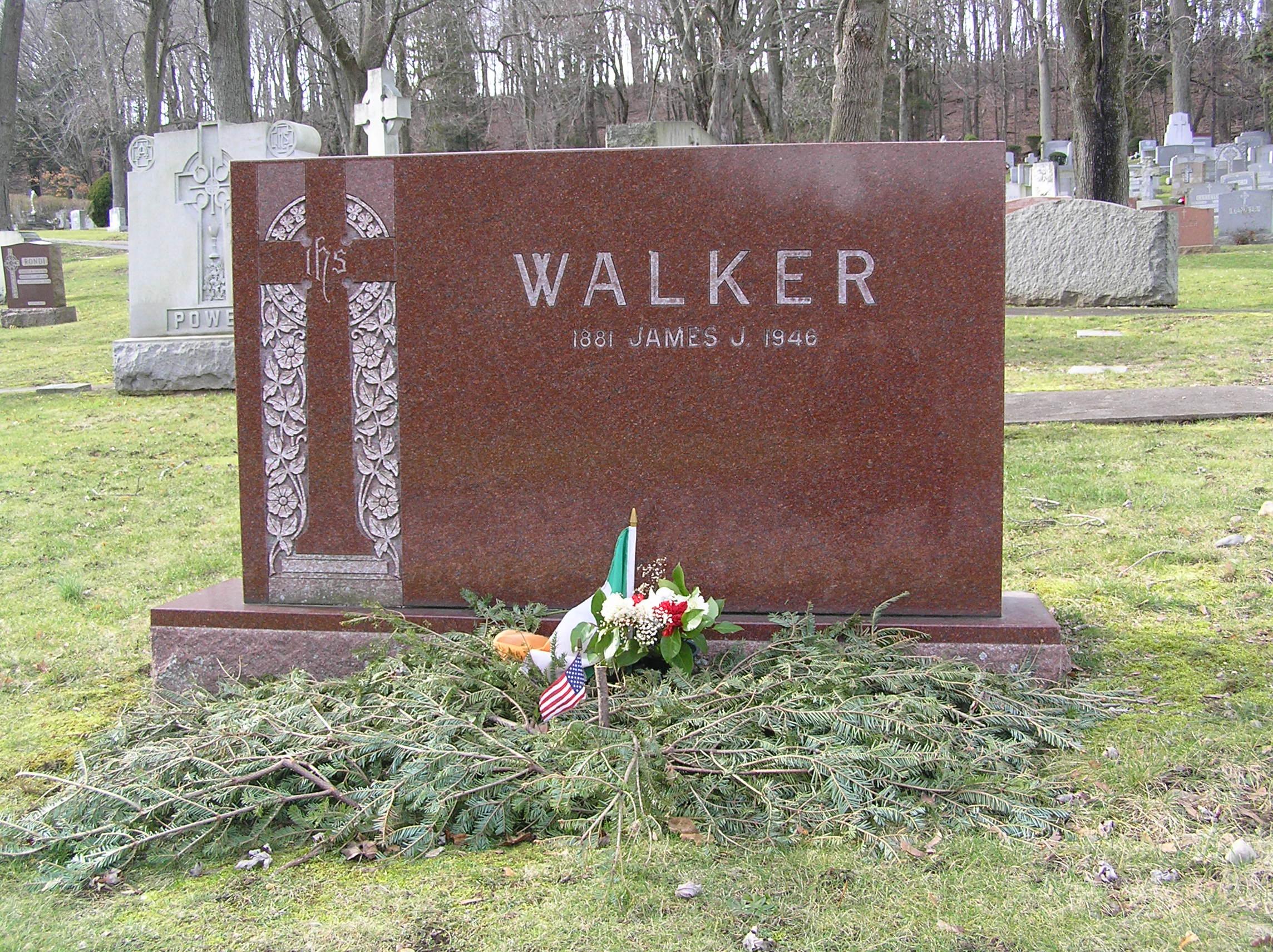 The grave of Jimmy Walker in Gate of Heaven Cemetery
