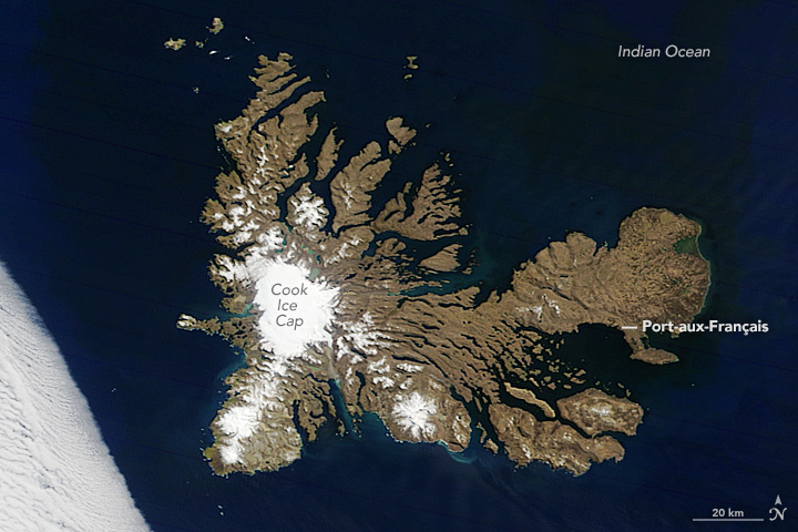 Kerguelen Islands from space, 2016