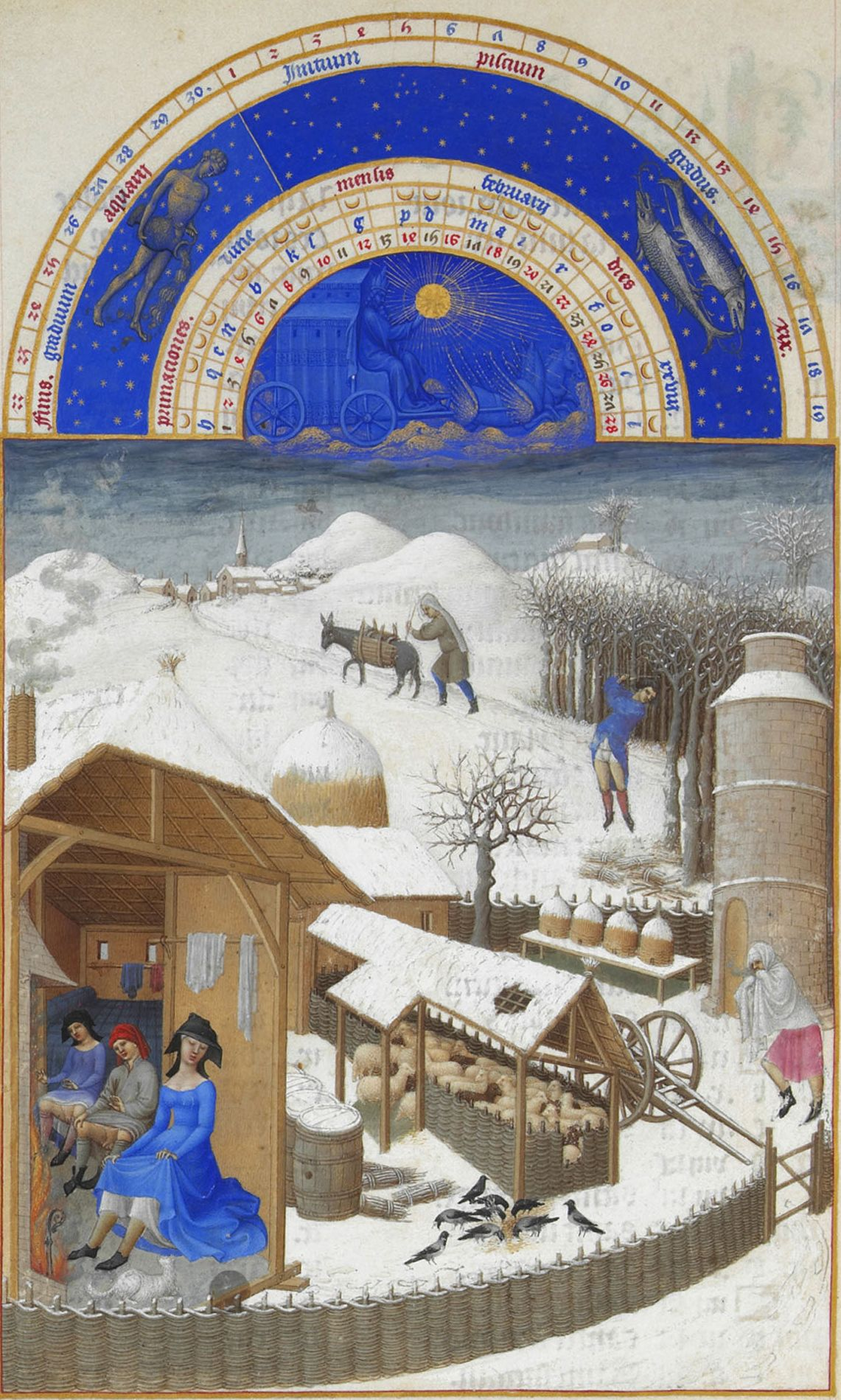 """Limbourg Brothers, """"The Book of Hours."""" Chopping wood, the interior of the farmhouse."""
