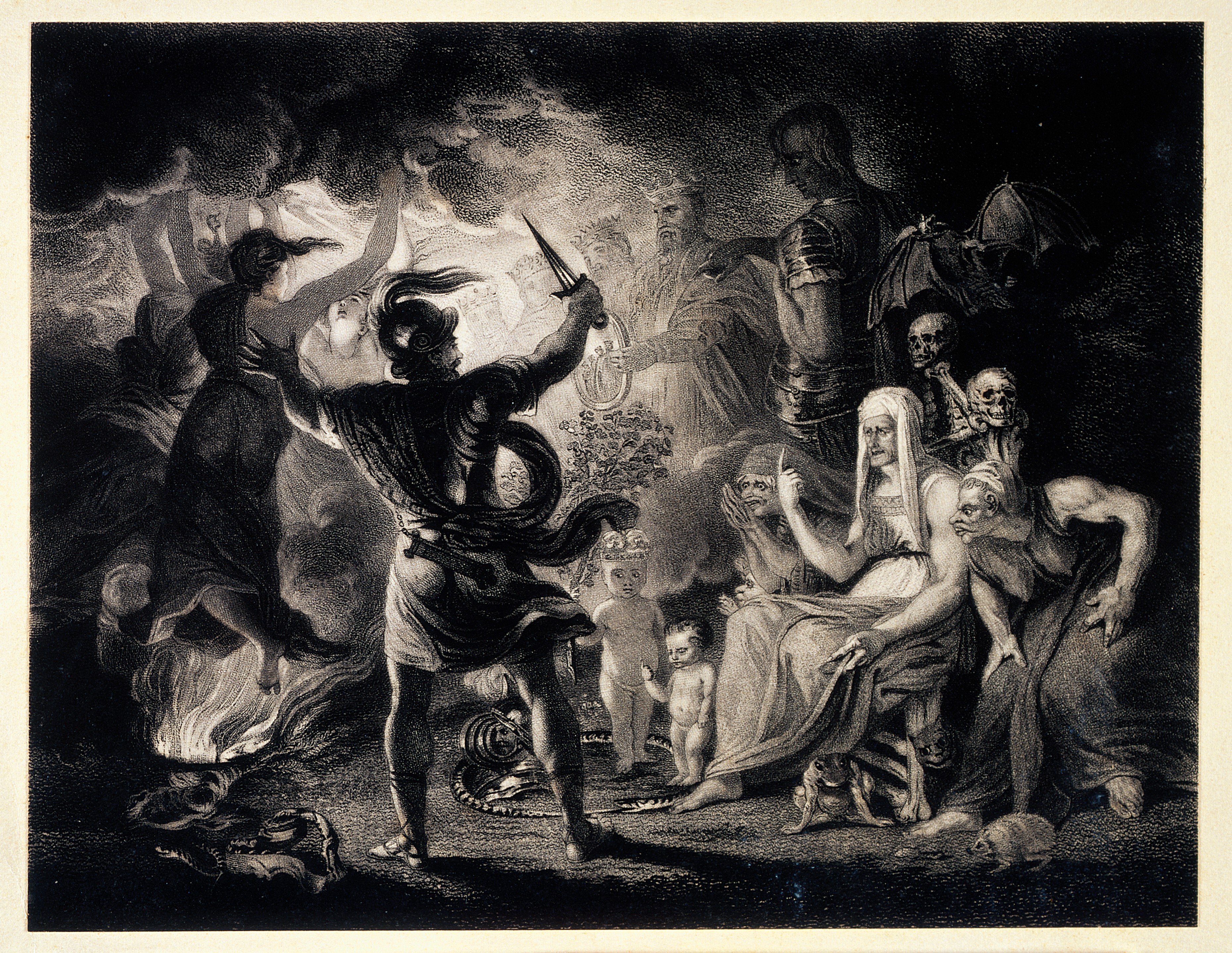 An image of Macbeth seeing three witches, accompanied by witches' familiars