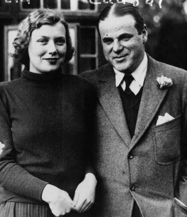 Auschnitt and fiancee Miss Leonora Brooke (daughter of White Rajah Charles Vyner Brooke), in 1932 Miss Leonora Brooke et son fiance M. Max Ausnit, millionnaire roumain, Planet.jpg