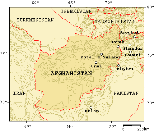 Hindu-Kush Mountains - Map on