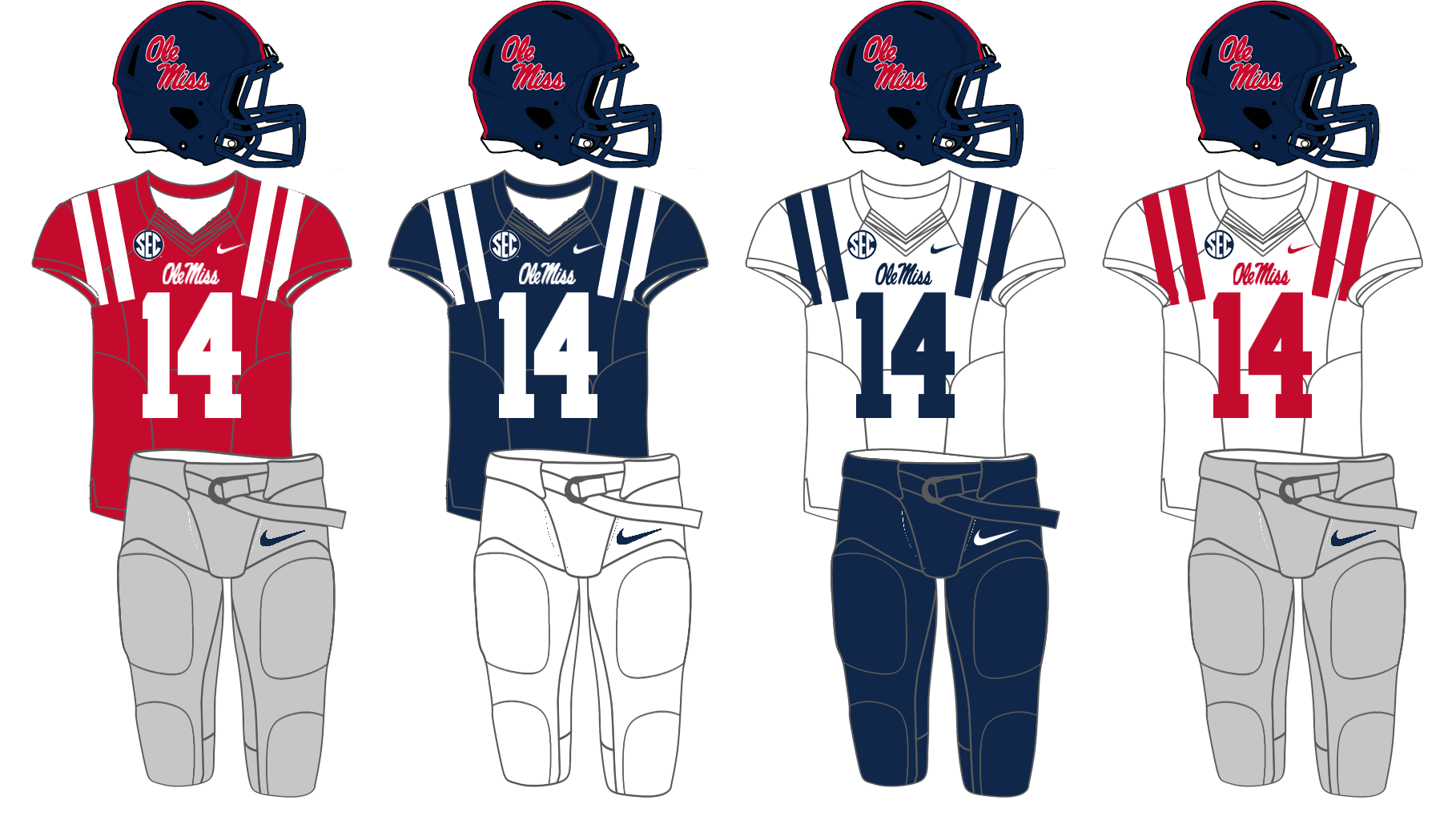 91a393de4 File Ole Miss 2013 Football Uniforms.png - Wikimedia Commons