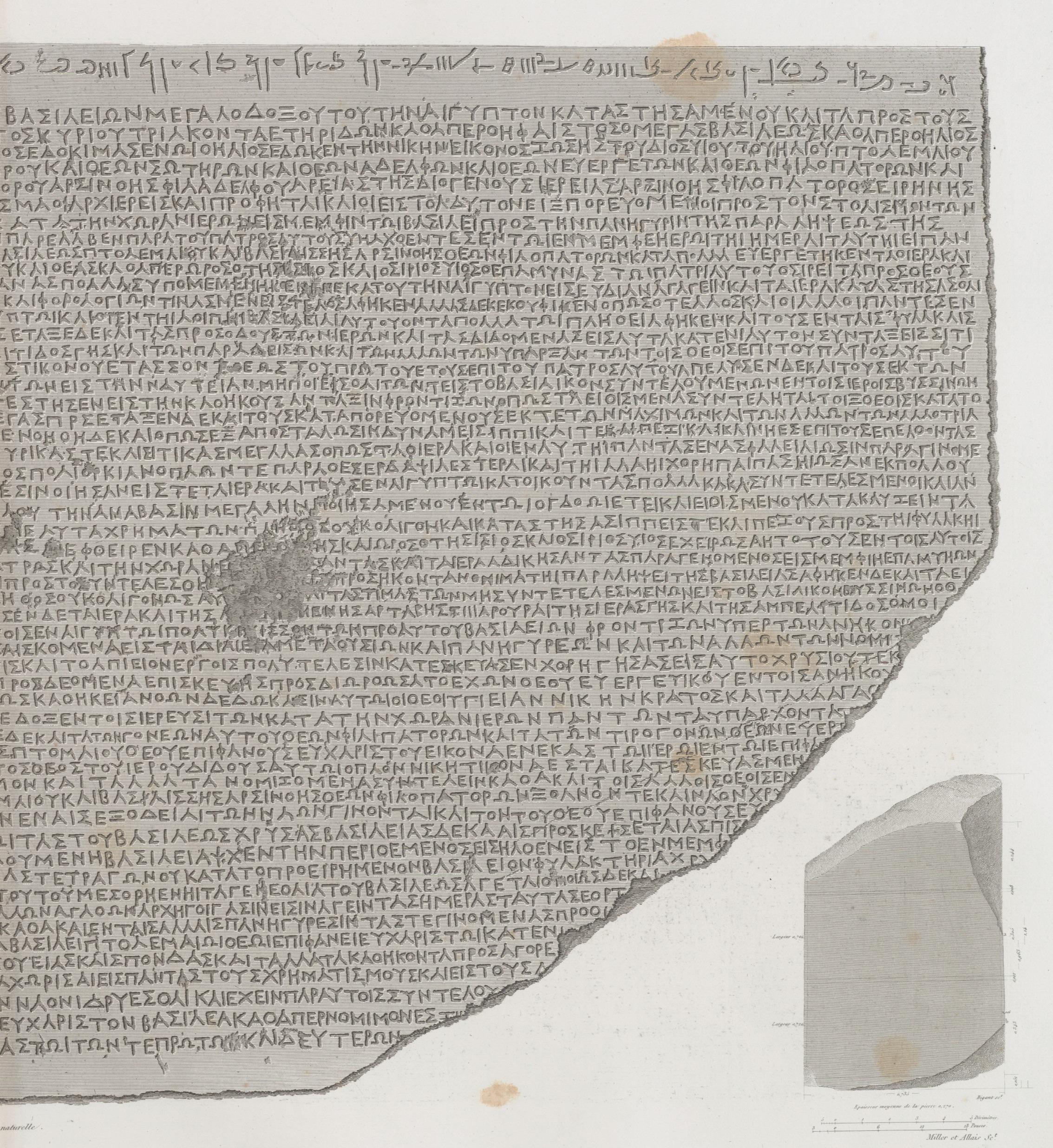 Papyrus, hiéroglyphes, inscriptions et médailles. Pierre trouvée à Rosette, (partie inférieure, en langue greque) (NYPL b14212718-1268222) (cropped)