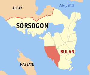 Map of Sorsogon showing the location of Bulan