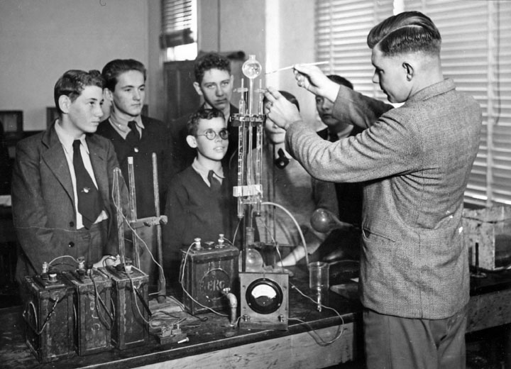 Queensland State Archives 1638 Industrial High School Brisbane Science Class April 1951