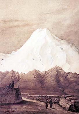 «Крепость в Пятигорске с видом на Эльбрус». Рисунок Шарля Ребуля, 1894г.