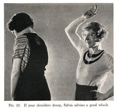 Sylvia of Hollywood demonstrates benefit of whacking on poor posture