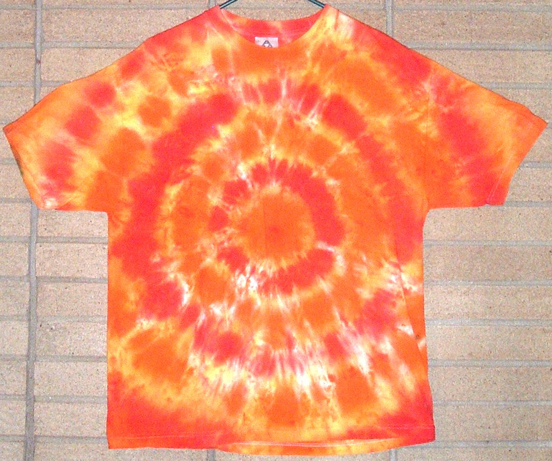 An example of a tie-dyed T-shirt.