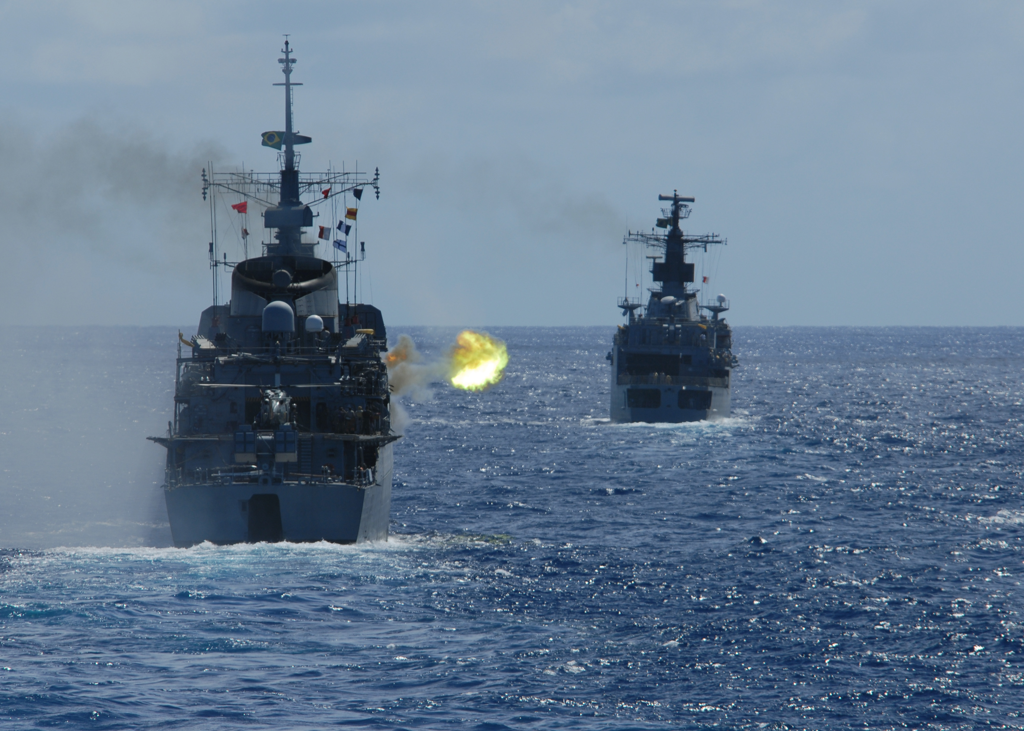 US Navy 110422-N-ZI300-115 The Brazilian navy frigate Bosisio (F 48) fires at an unmanned aerial vehicle during a drone exercise (DRONEX) with ship