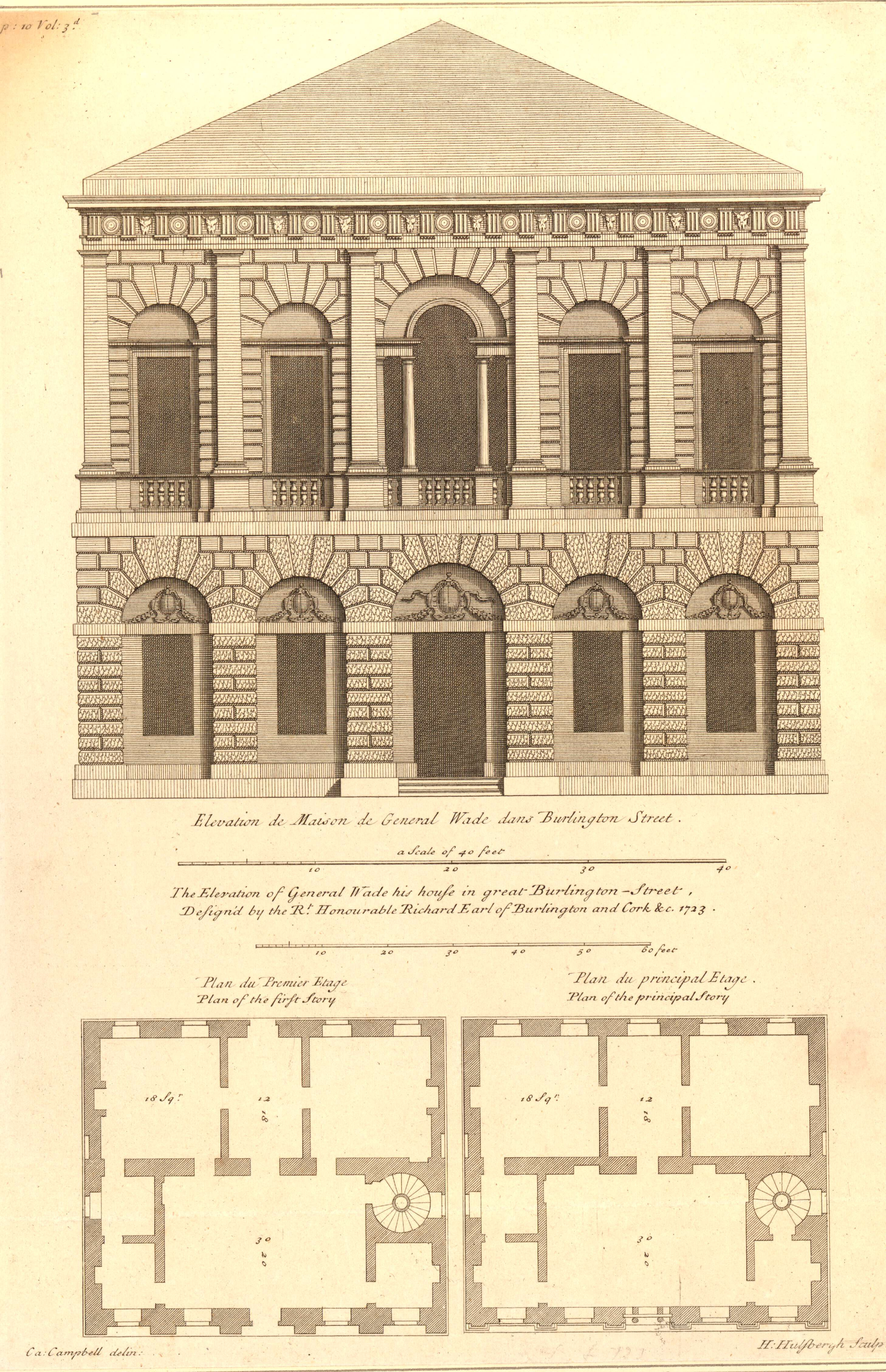 Ground Floor Elevation In House : File vitruvius britannicus the elevation of general wade