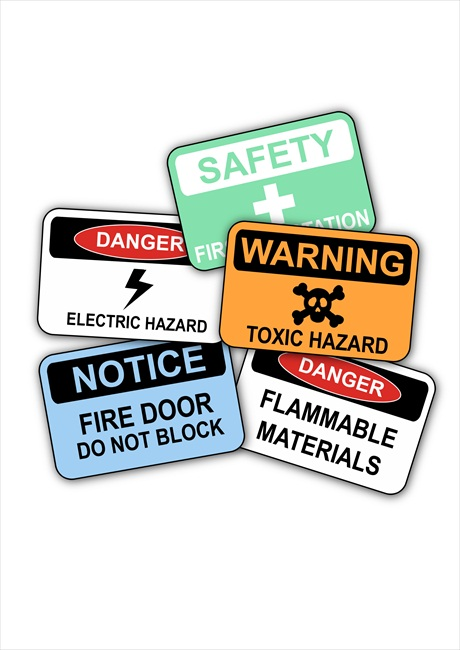 A bunch of safety signs.