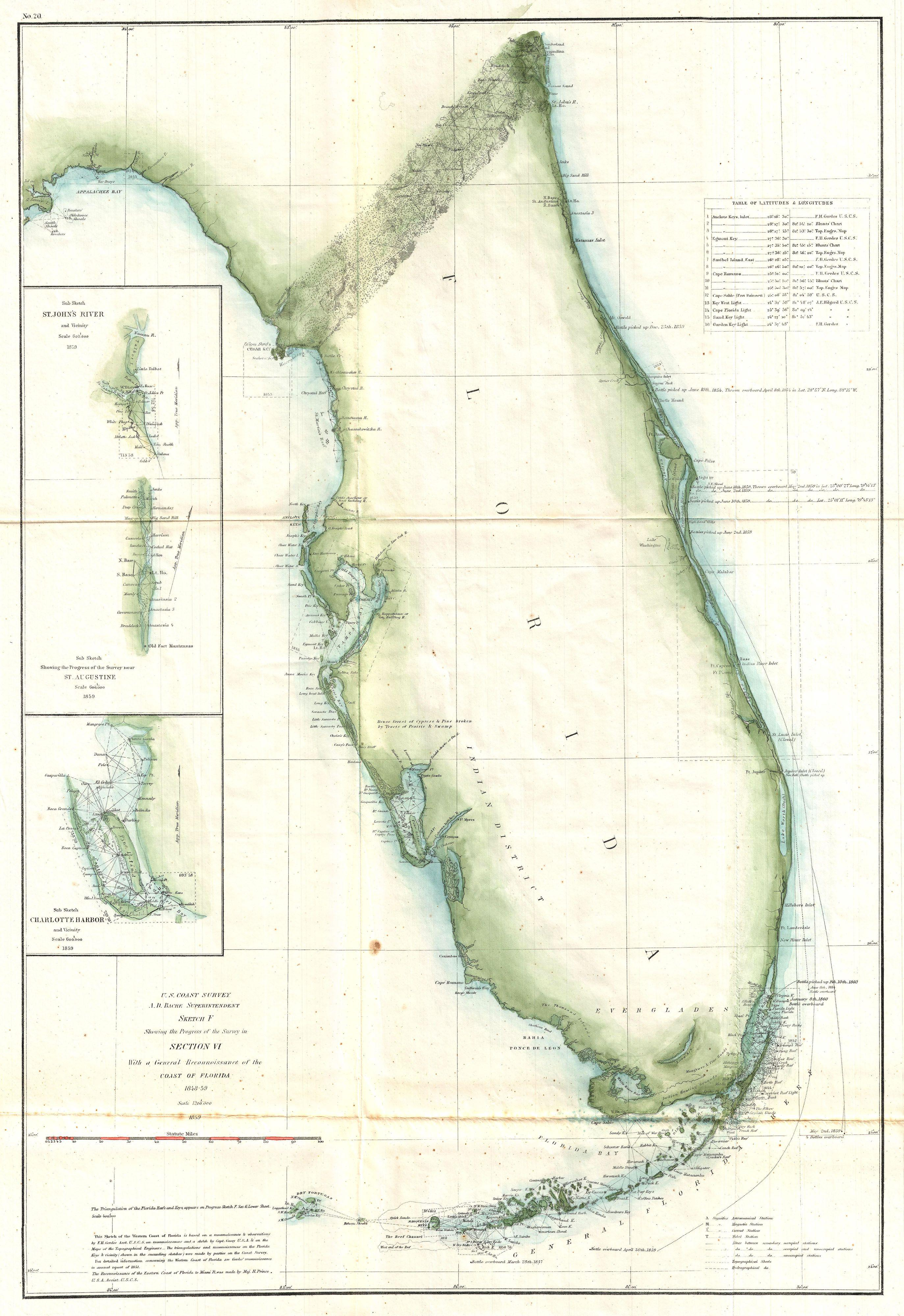 Florida Coastline Map.File 1859 U S Coast Survey Map Of Florida Geographicus Florida