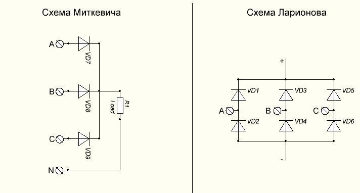 Выпрямитель трехфазного тока схема