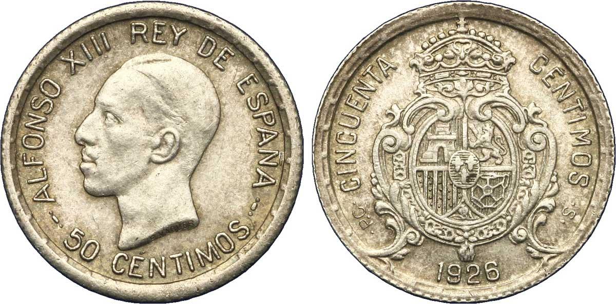 Monedas Dictadura Primo de Rivera 50_Centimos_%C3%A0_l'effigie_d'Alphonse_XIII,1926