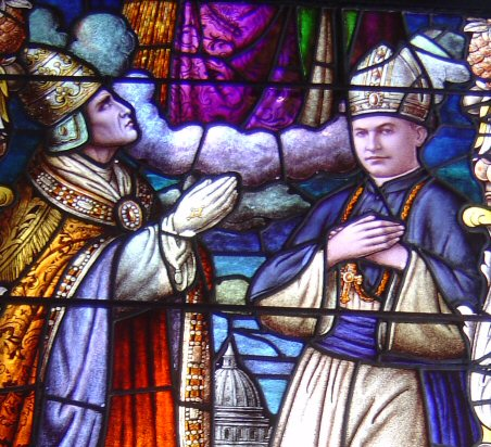 Stained glass window of the cathedral of Honolulu depicting Pope Pius XI (left) blessing Bishop Stephen Alencastre as fifth Apostolic Vicar of the Hawaiian Islands Alencastre Window.jpg
