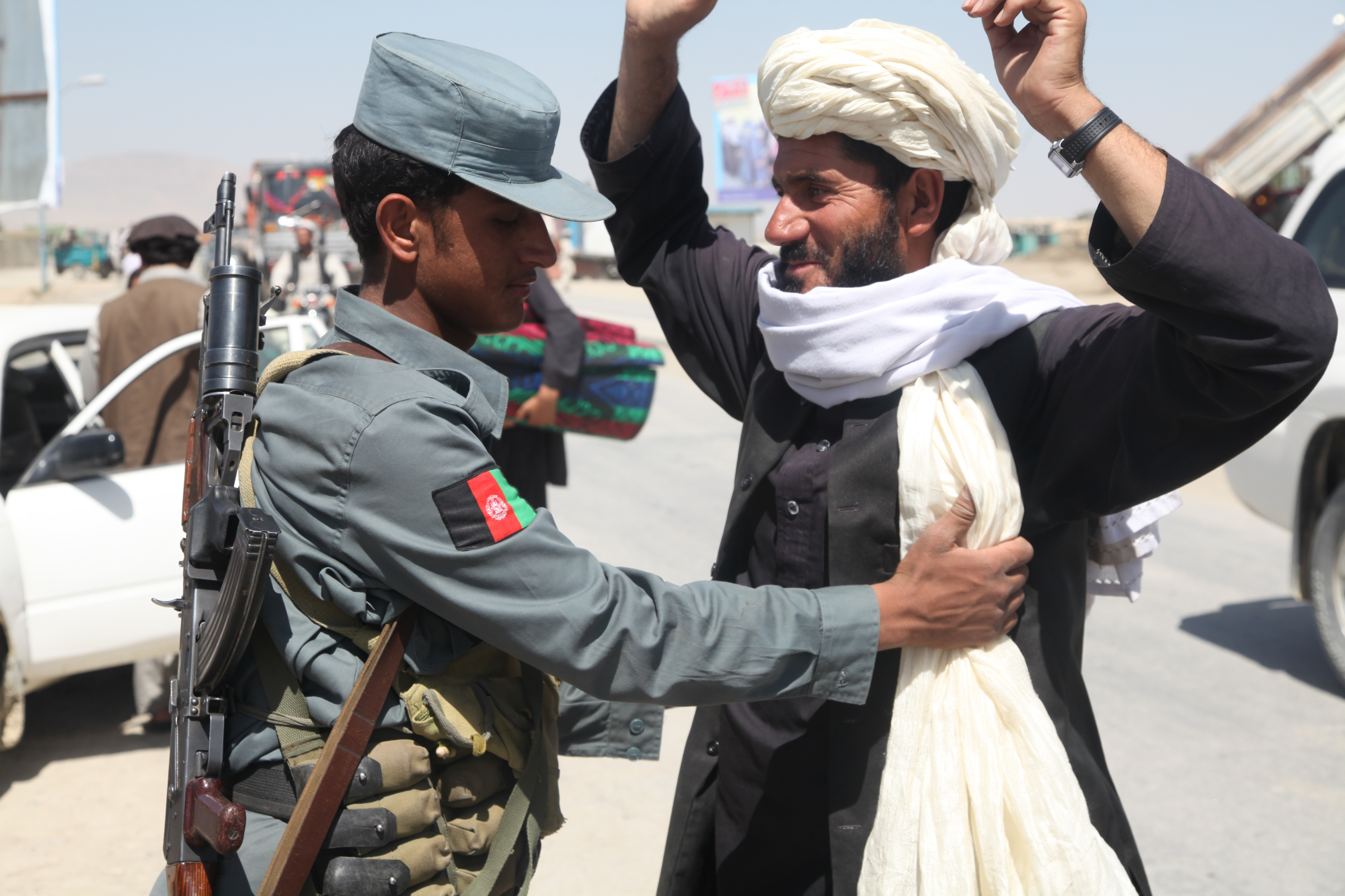File:An Afghan National Police Officer Conducts A Search