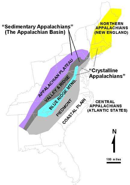 USGS Appalachian zones in the United States. - Appalachian Mountains
