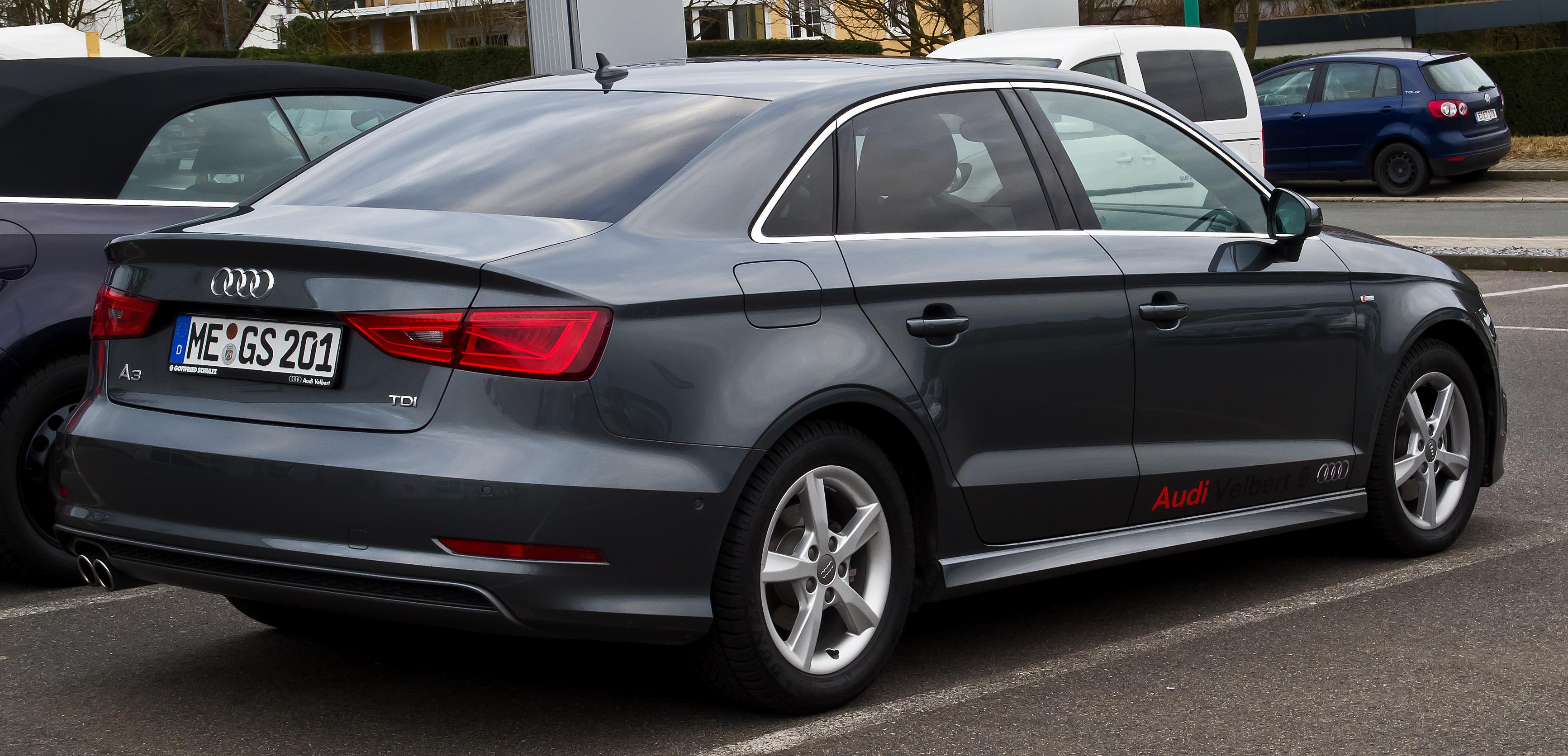 File:Audi A3 Limousine 2.0 TDI Ambiente S-line (8V) – Heckansicht, 1. März 2014, Velbert.jpg ...