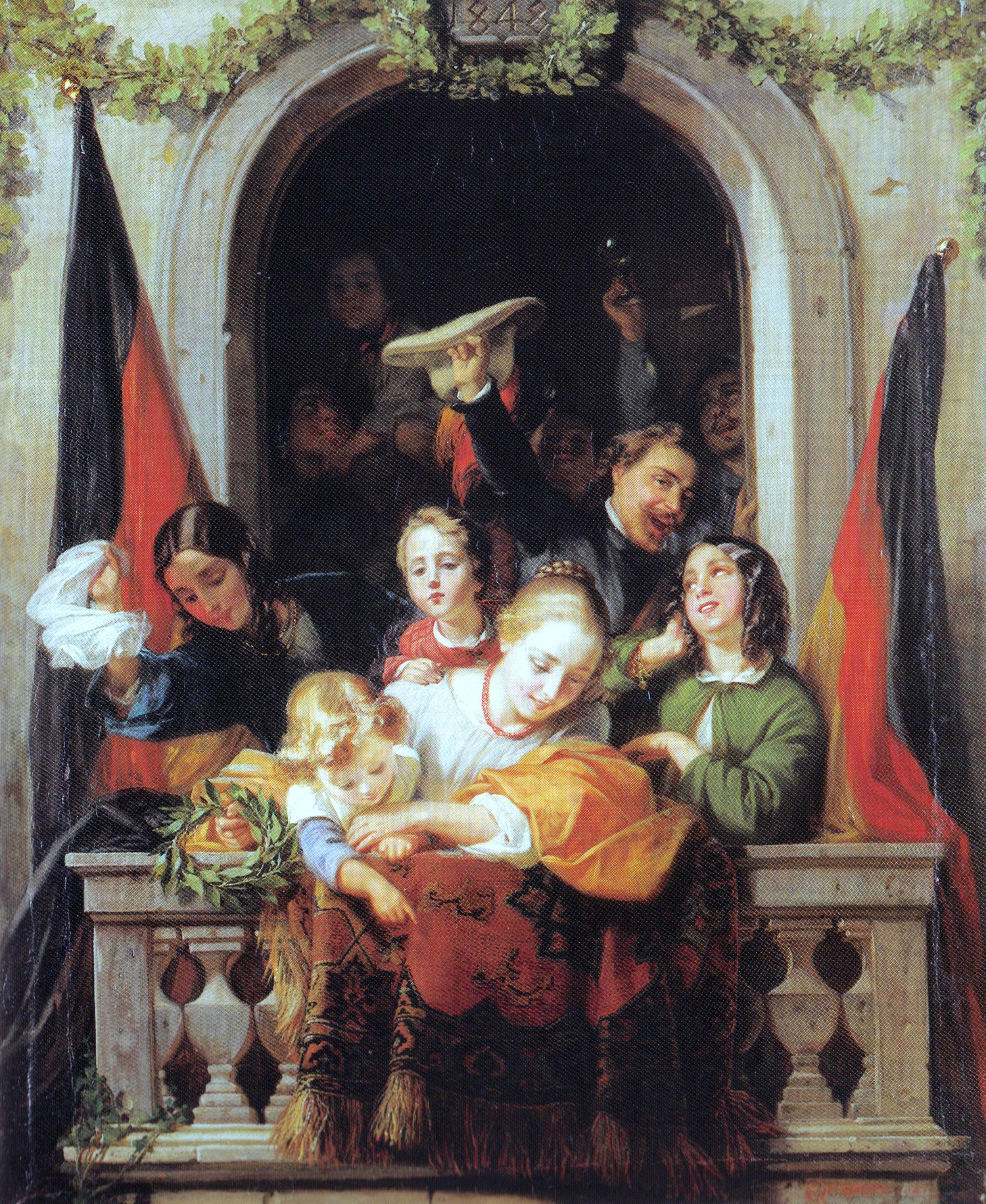 Gemälde von Moritz Daniel Oppenheim: Szene im Fenster beim Einzug des Reichsverwesers, 1852