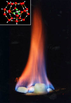 """Burning ice"". Methane, released by ..."