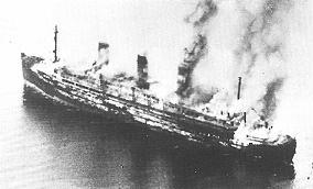 The burning Cap Arcona shortly after the attacks, 3 May 1945. Only 350 survived of the 4,500 prisoners who had been aboard Cap Arcona burning.jpg