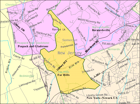 Census Bureau map of Far Hills, New Jersey