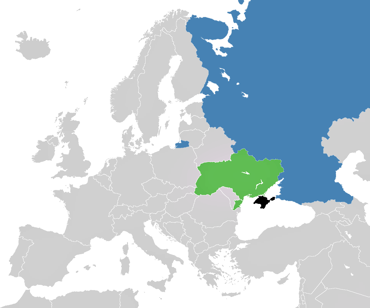 Map of Crimea showing relative position of Russia and Ukraine