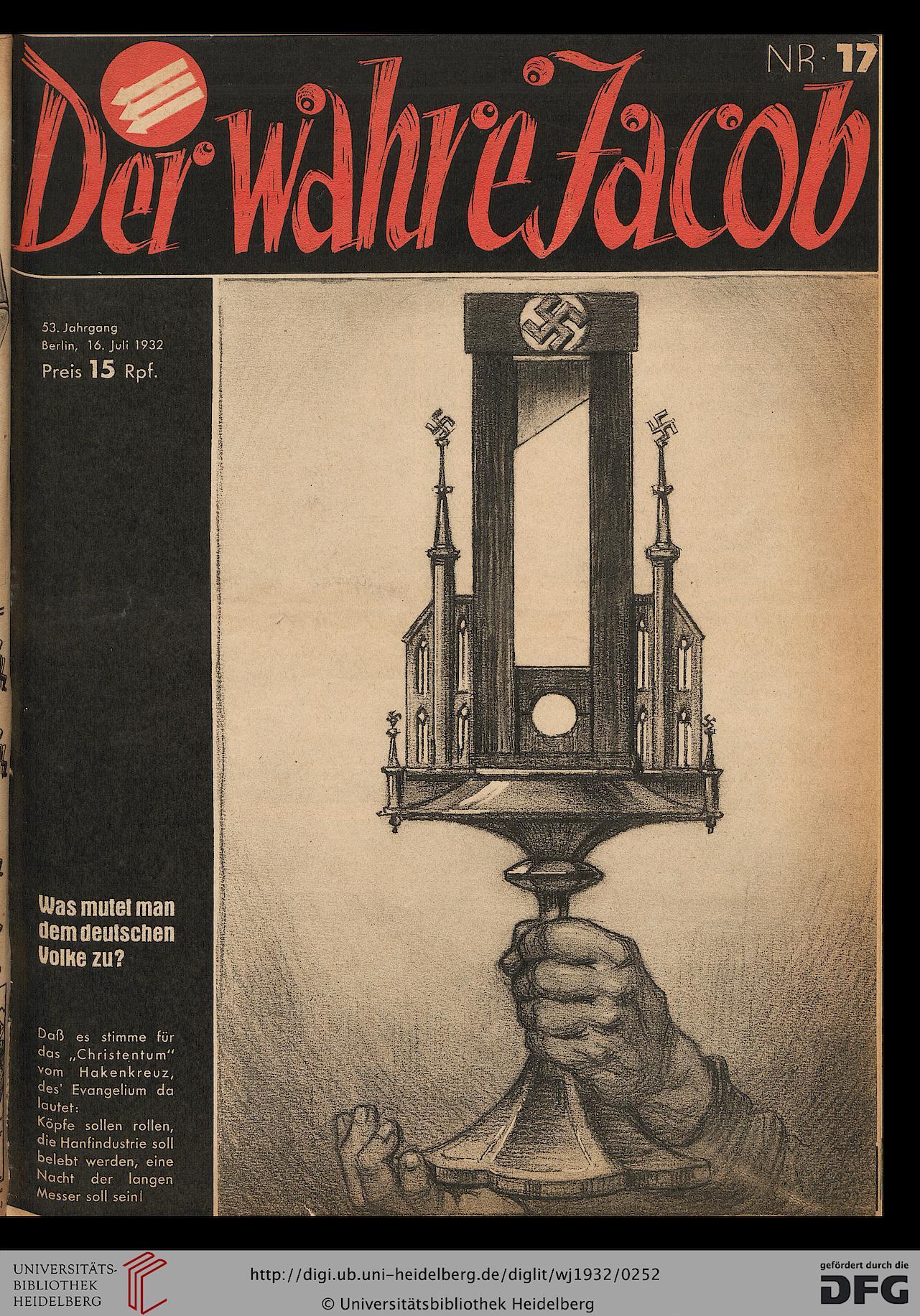 Der Wahre Jacob, Ausgabe 17, vom 16. Juli 1932, Titelseite. Diese Karikatur führte zu einem mehrwöchigen Verbot des Blattes, das Klausener befürwortete.